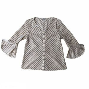 H by HALSTON button blouse w/ slitted bell sleeves